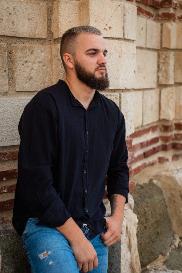 мъжка-памучна-черна-риза