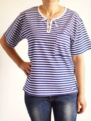дамска-морска-тениска-с-връзки-на-деколтето