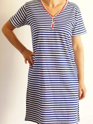 дамска-морска-рокля-с-ръкав